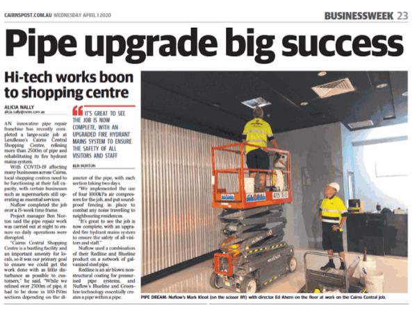 Pipe repair article in the Cairns Post