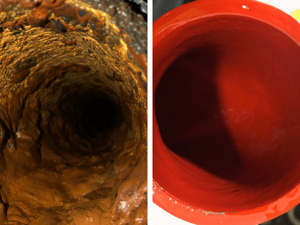 Nufow's before and after pipe repair photo